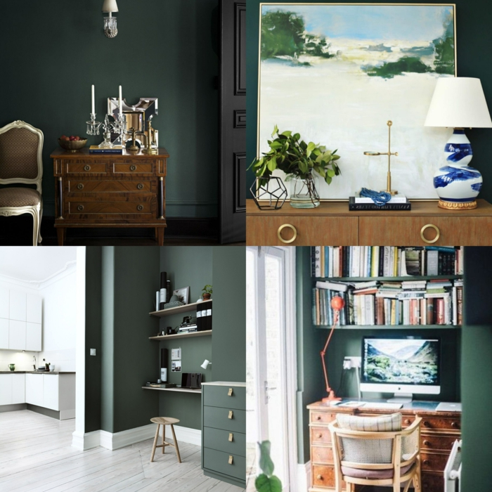 ultimas tendencias en decoracion de paredes, salones decorados en verde oscuro, diseños modernos 2019
