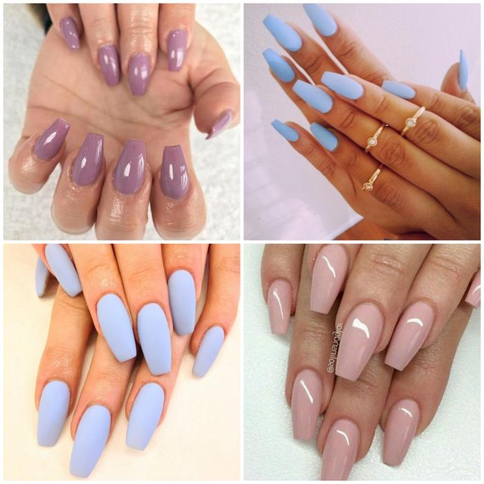uñas acrilicas o de gel de forma ballerina, cuatro propuesta de uñas pintadas en un solo color tonos pastel