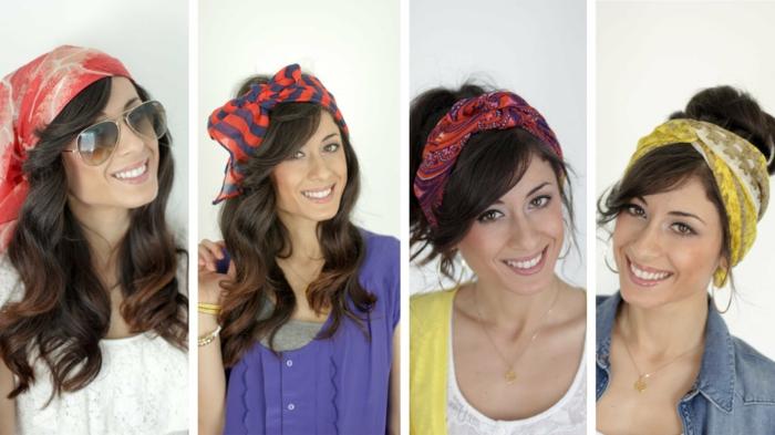 cuatro ejemplos sobre cómo puedes sacar el máximo provecho a los pañuelos en la cabeza, cuatro propuestas super faciles