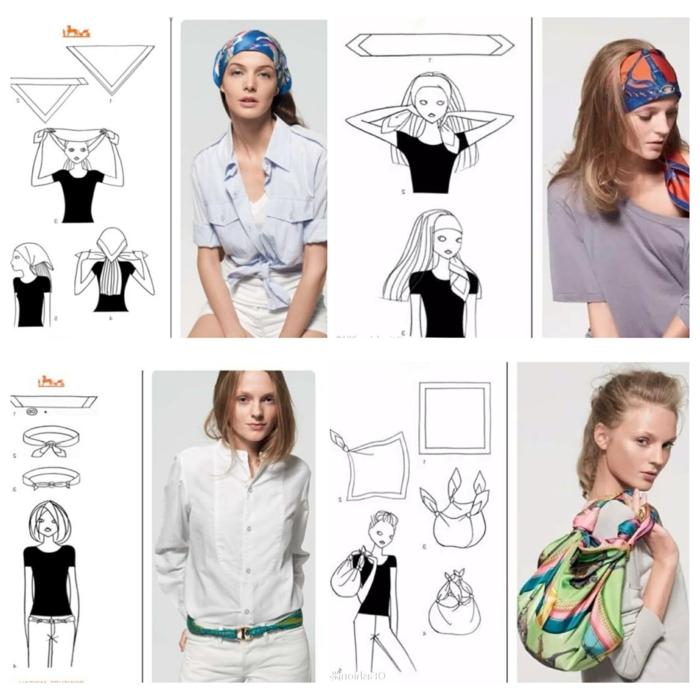 cuatro formas modernas de llevar un pañuelo, últimas tendencias en la moda mujer 2018 2019, bonitas ideas