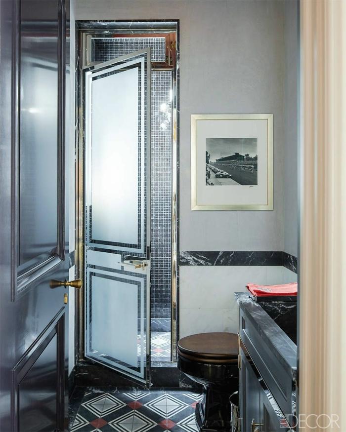 baños modernos decorados en gris, cuartos de baño de diseño 2018, azulejos con motivos geométricos