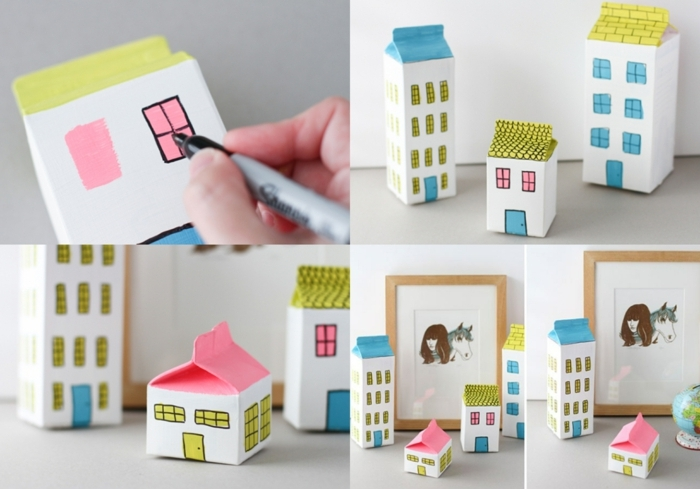 manualidades con carton paso a paso, como decorar cajas de cartón, pequeñas casas decorativas