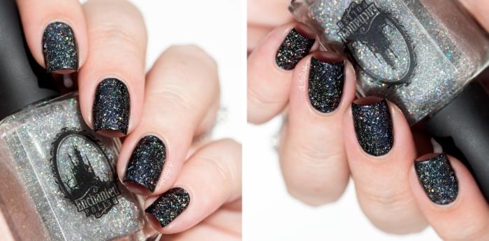 decoración de uñas con acrilico para uñas, colores en tenencia 2018 2019, uñas negras con partículas brillantes
