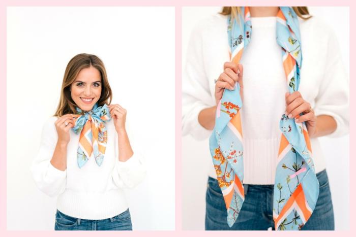 como atar un pañuelo de forma muy coqueta, formas de ponerse un fular, pañuelo en azul y naranja