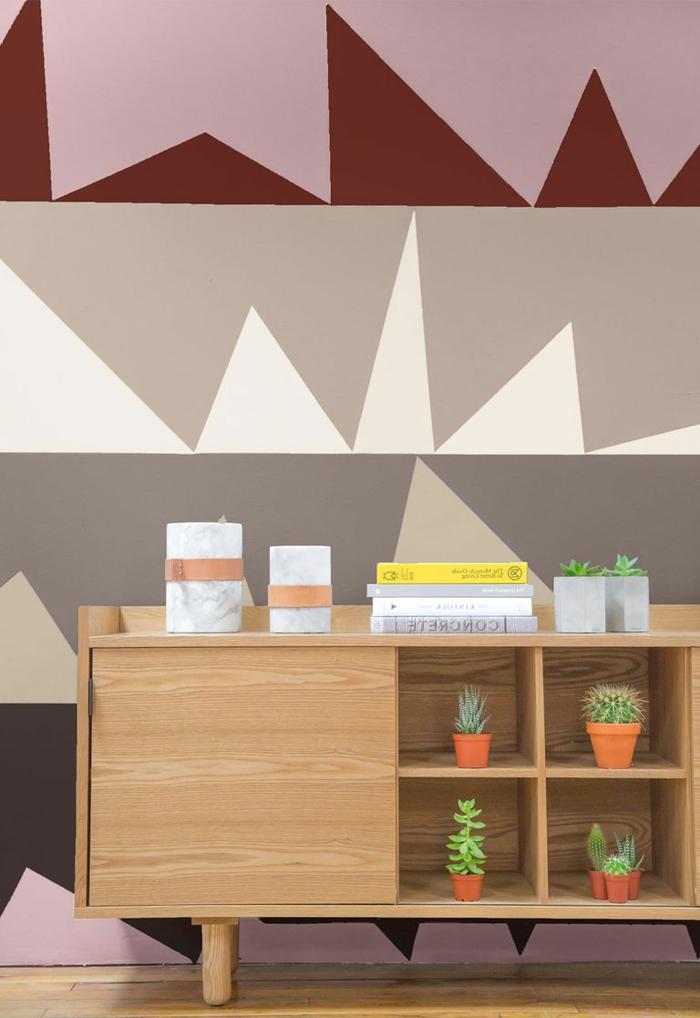paredes pintadas originales decoradas en diferentes colores, decoración en beige y rosado