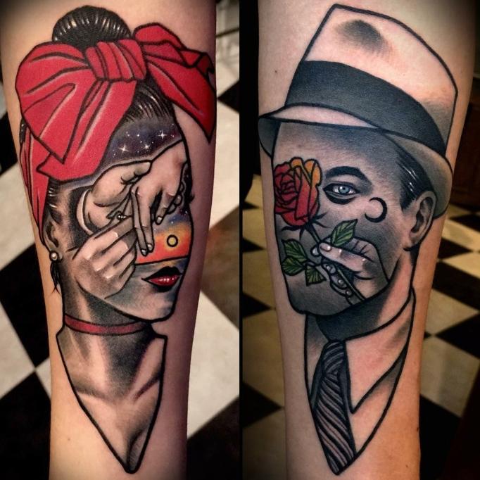 preciosos diseños tatuajes en el brazo, dos tatuajes con hombre y mujer, propuesta de compromiso