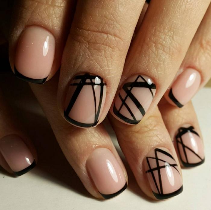 acrilico para uñas cortas, uñas francesas con puntas en negro y decoración con motivos geométricos