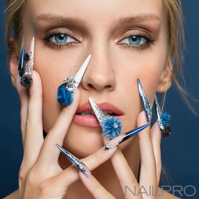 ideas extravagantes sobre como hacer uñas acrilicas, diseño exclusivo, uñas muy largas con decoración 3D