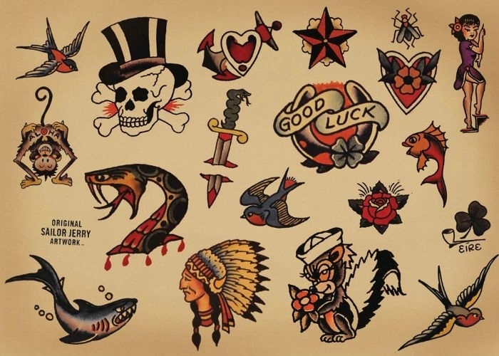 símbolos típicos tatuajes tradicionales, tatuajes calaveras, serpientes, chicas pin-уп, indigenas, golondrinas