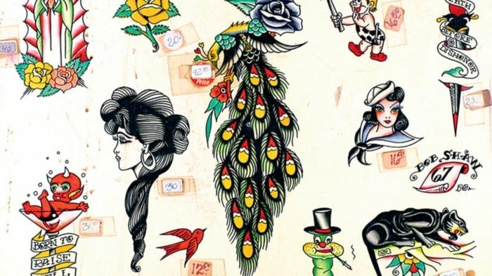 típicos símbolos de los tatuajes americanos tradicionales, tatuajes faciles para hombres y mujeres