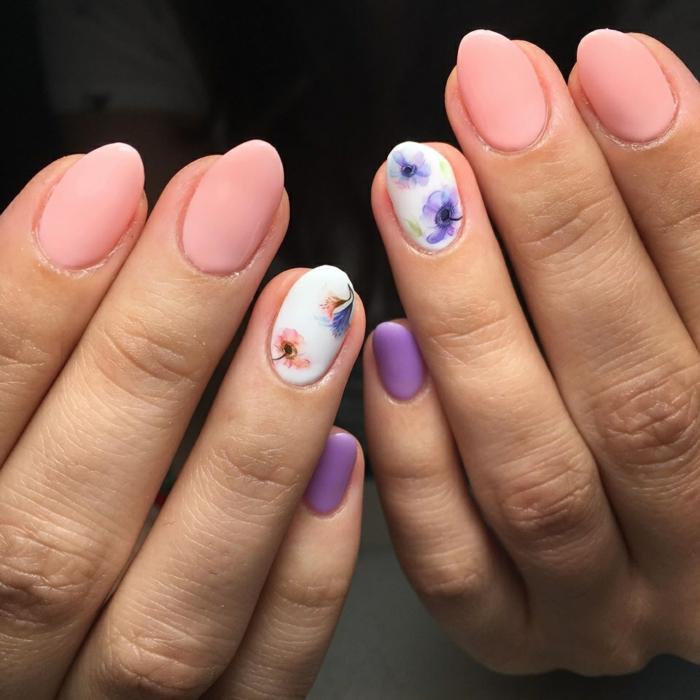 diseños de uñas bonitos con acrílico, uñas decoradas en colores pastel con decoración motivos florales