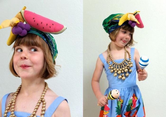 ideas originales y fáciles de hacer de disfraces de halloween caseros para niños, disfrace exótico con frutas