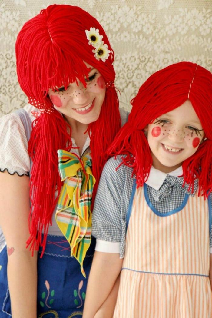 disfrace en pareja para madre y niña, Dorothy del Mago de Oz, disfraces de carnaval caseros originales