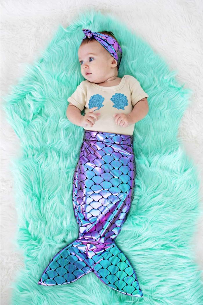 disfrace bebe casero, ideas originales de disfraces de halloween caseros para niños, pequeña sirena