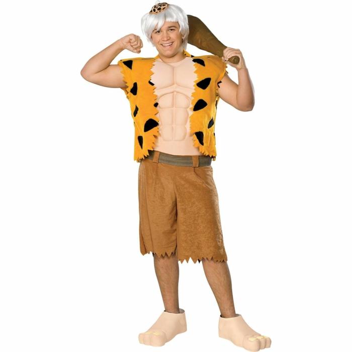 ideas de disfraces de halloween caseros para niños y adultos, Fred Flinstone, blusa en amarillo decorada con trozos de fieltro