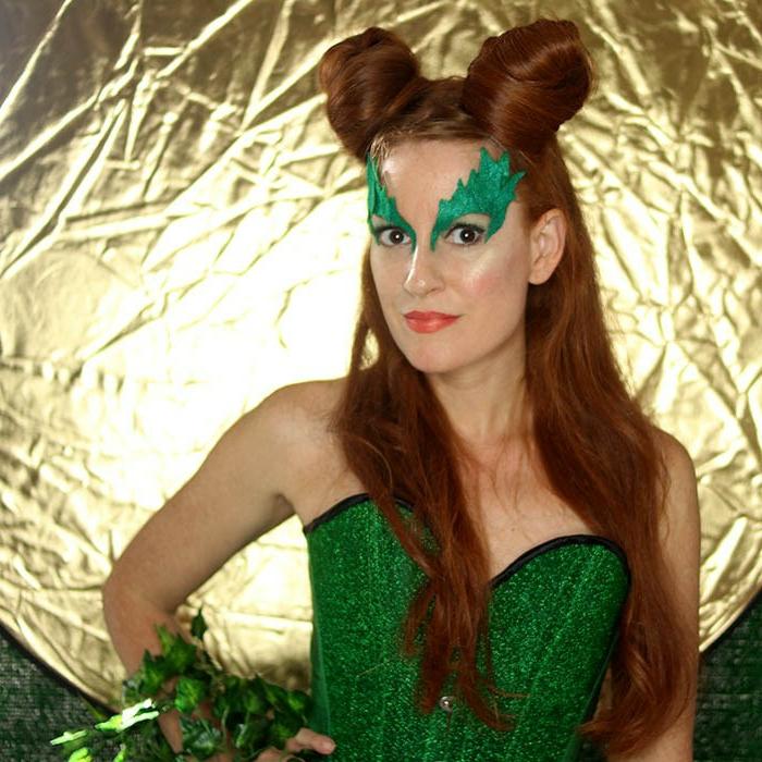 disfraces caseros carnaval, la hiedra venenosa, decoración de fieltro, vestido verde, peinado super original