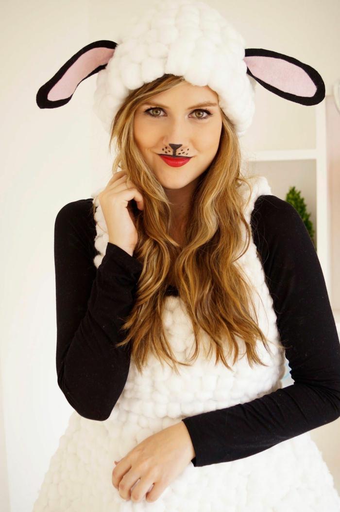 disfraces caseros carnaval, ideas para mujeres, disfrace de oveja, ideas de disfraces y maquillaje Halloween para pequeños y adultos