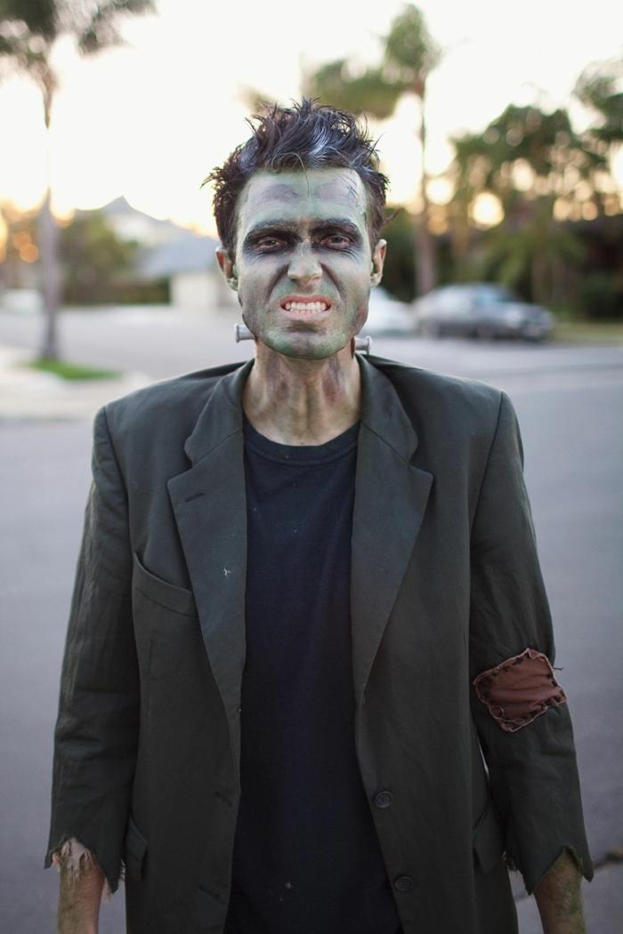 disfraces caseros carnaval para hombres, idea sencilla, maqullaje en verde y negro, disfrace de zombie