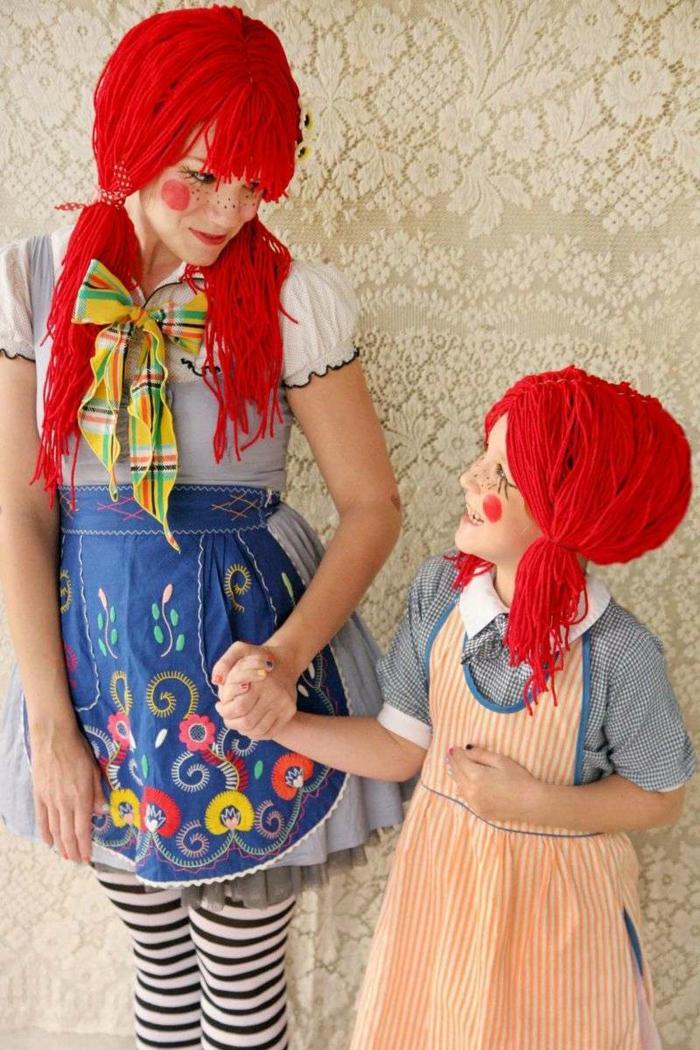 disfraces de carnaval caseros para niños y adultos, originales ideas DIY, madre y niña con disfraces atractivos