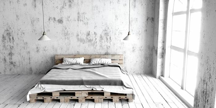 preciosa decoracion con palets, habitación en estilo escandinavo, decoración minimalista, cama moderna hecha con palets