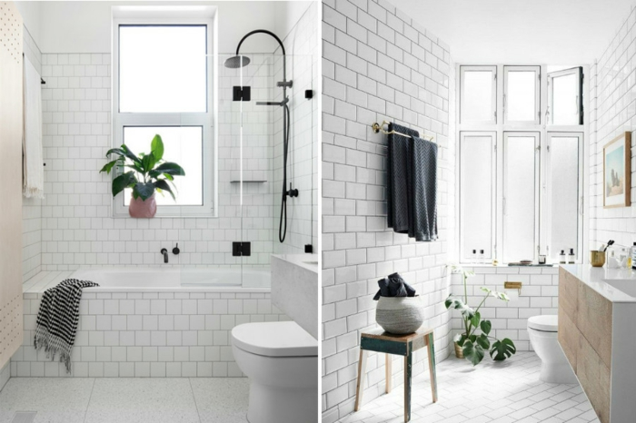 ideas de reformas de baño, dos cuartos de baño decorados en estilo escandinavo, decoración con plantas verdes