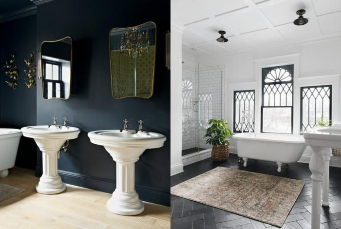baños modernos inspirados en la estética vintage, dos ejemplos de cuartos de baño en estilo vintage