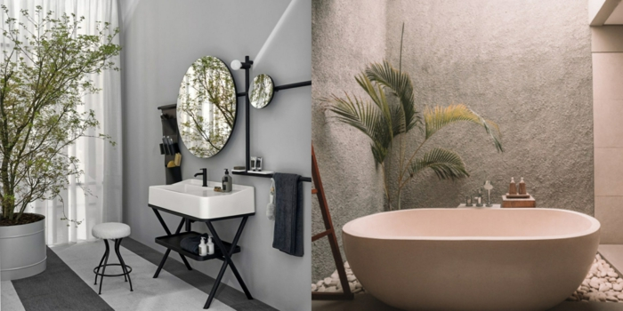dos diseños de cuartos de baño modernos decorados en estilo contemporáneo, cuartos de baño de diseño ideas