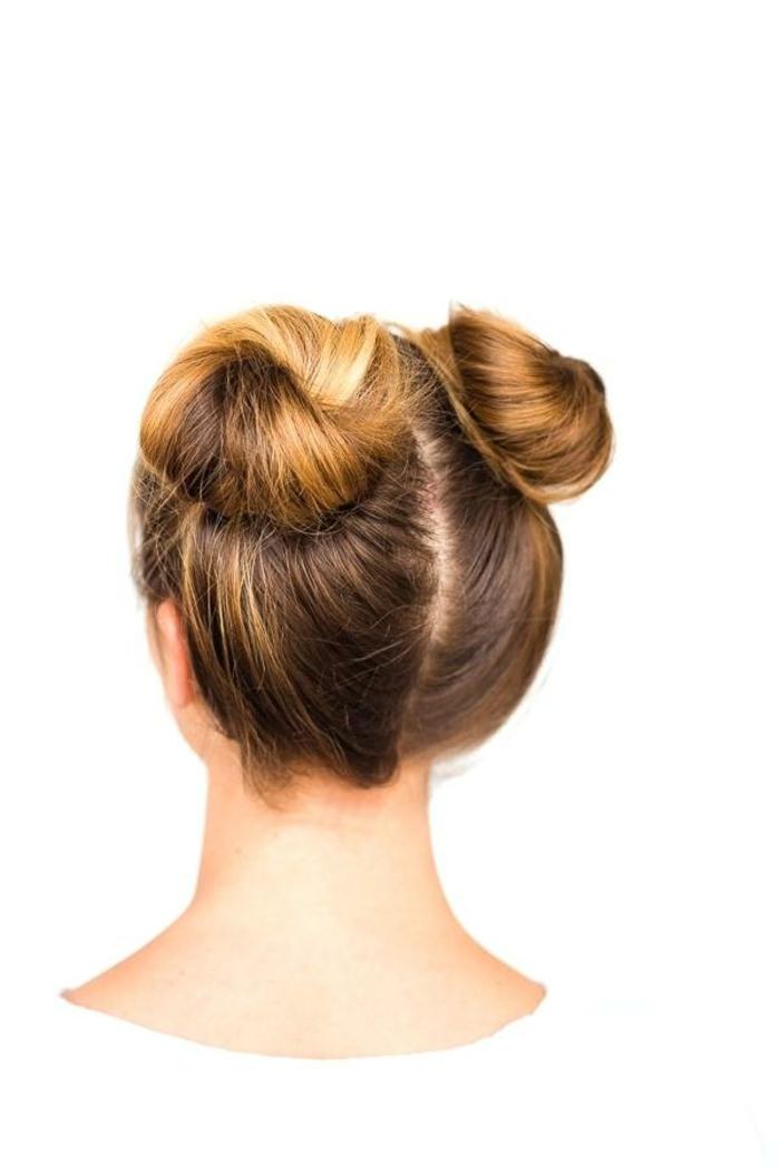 recogido elegante con dos moños laterales, ideas de peinados recogidos faciles en tendencia 2018 2019