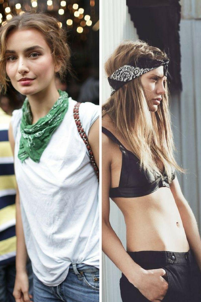 moda hippie 2018, como ponerse un pequeño pañuelo en el cuello y la cabeza, estética boho chic