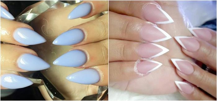 dos ejemplos de uñas largas en acrílico con forma muy afilada decoradas en colores pastel