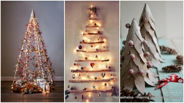 tres variantes de arbol de navidad reciclado con mucho encanto, arbol de navidad de madera y de cartulina