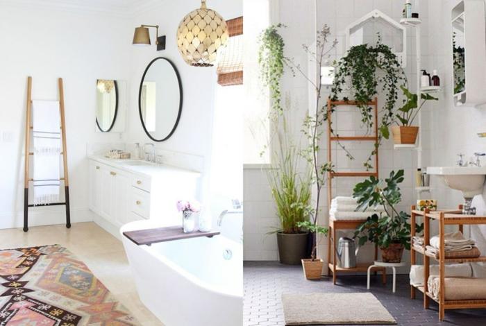 dos ejemplos de baños modernos decorados en estilo boho chic, plantas verdes, detalles de mimbre y madera y alfombras ornamentadas