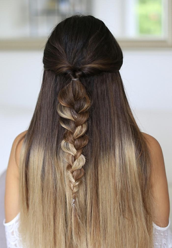 larga melena efecto ombre, semirecogido bonito, ideas de peinados con trenzas faciles y rápidos