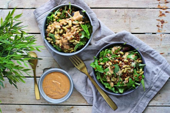 propuestas de recetas veganas rapidas, ensaladas saludables con lentejas y judias verdes