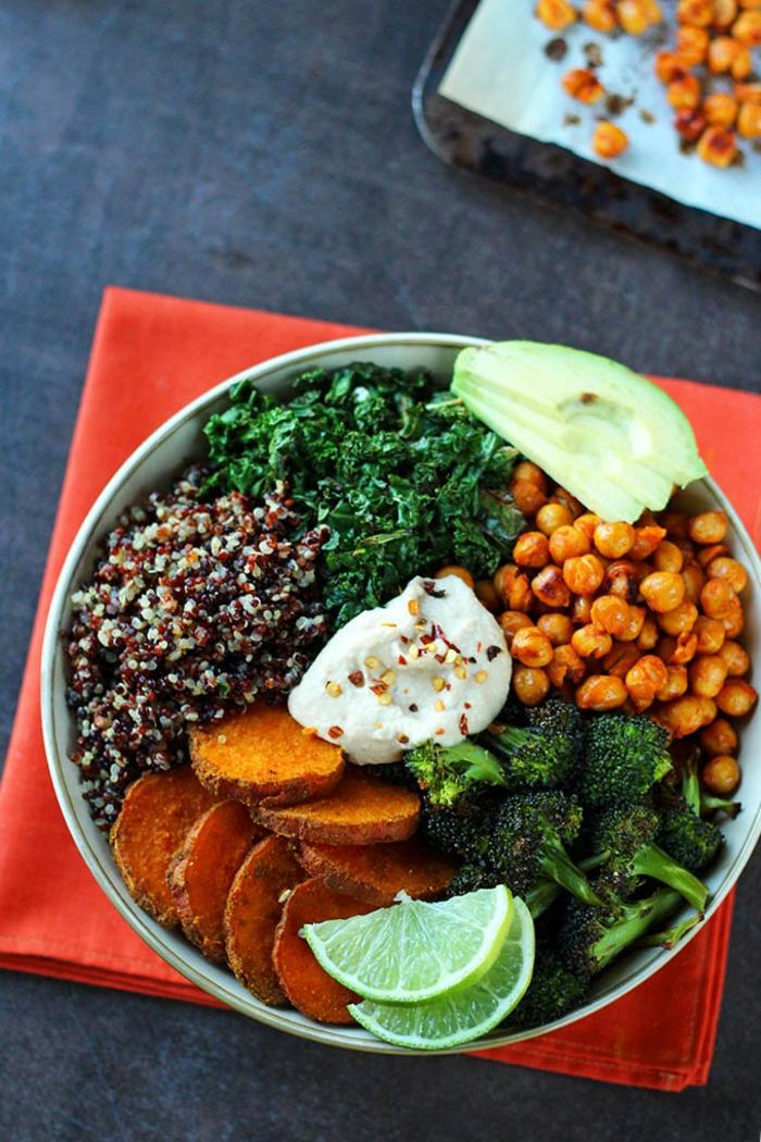 platos vegetarianos faciles y saludables, quinoa, papas dulces al horno, garbanzos, brocoli y verduras