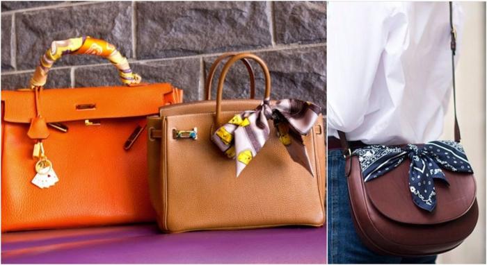 bolsos de diseño adornados con pañuelos de seda, diferentes formas de usar un pañuelo o bandana