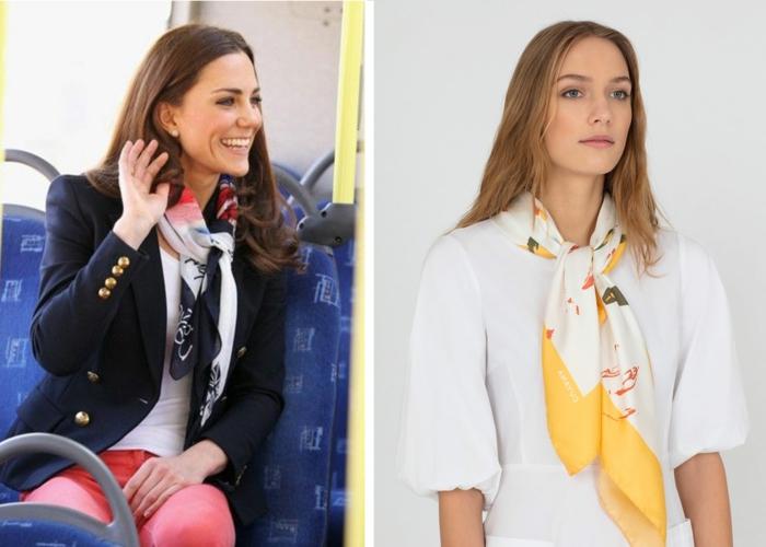 forma elegante de ponerse un pañuelo en el cuello, Kate Middleton con una chaqueta en azul oscuro y fular en blanco, azul y rojo