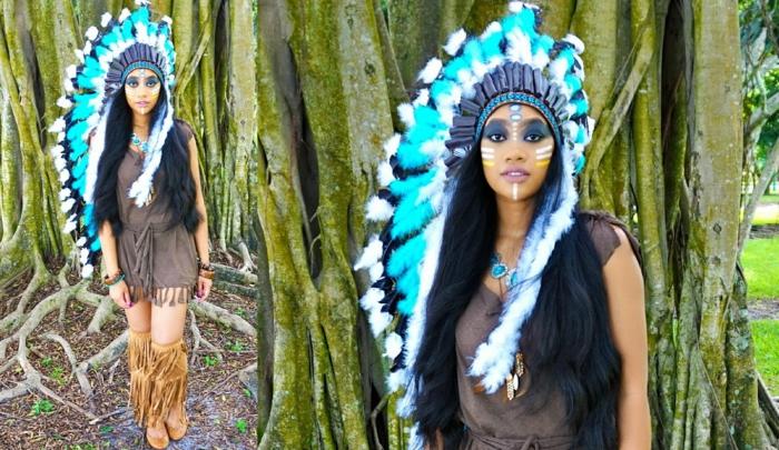 precioso disfrace Halloween de Pokahontas, maquillaje fuerte con sombras en azul y pintura en blanco y amarillo, ideas de disfraces improvizados