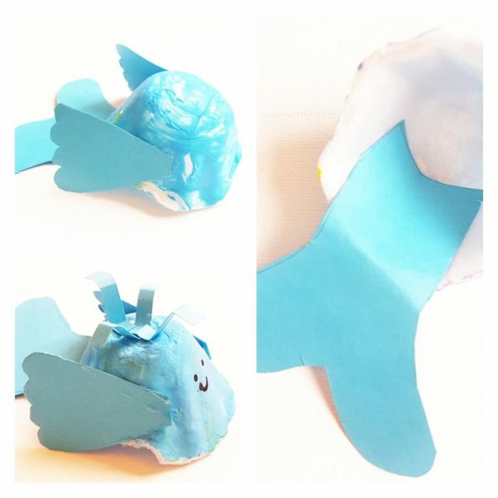 manualidades con carton para los niños, mini ballenas hechas de cartón de hueveras paso a paso