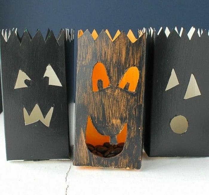 como hacer una caja de carton decorada Jack o lantern paso a paso, decoración para halloween casera