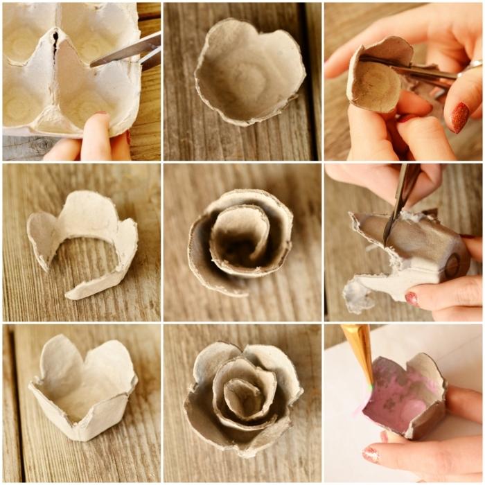 como hacer unas rosas de cartón reciclado, hueveras de cartón, manualidades con cartón paso a paso