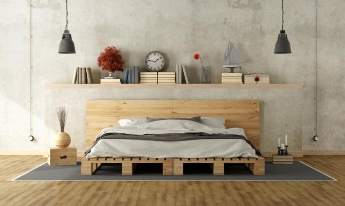 preciosa decoración, dormitorio en estilo contemporáneo, ideas de muebles hechos con palets