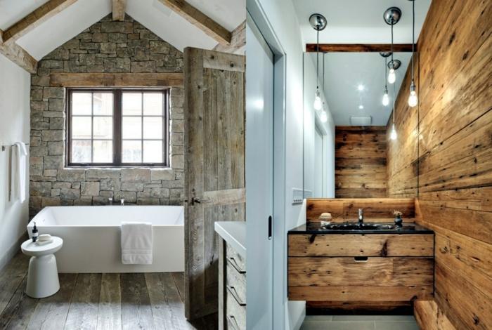 dos ejemplos de baños decorados en estilo rústico moderno, ideas reformar baño, techos con vigas, pared de ladrillo