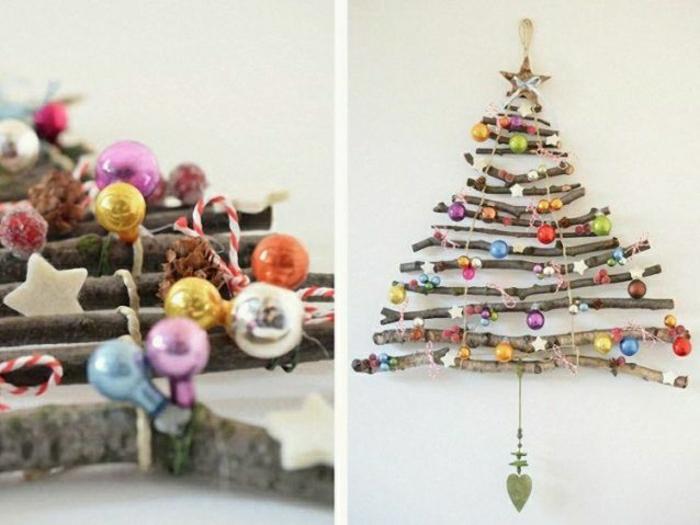 precioso arbol de navidad de madera con adornos navideños en colores, decoración paredes 2018, materiales reciclados