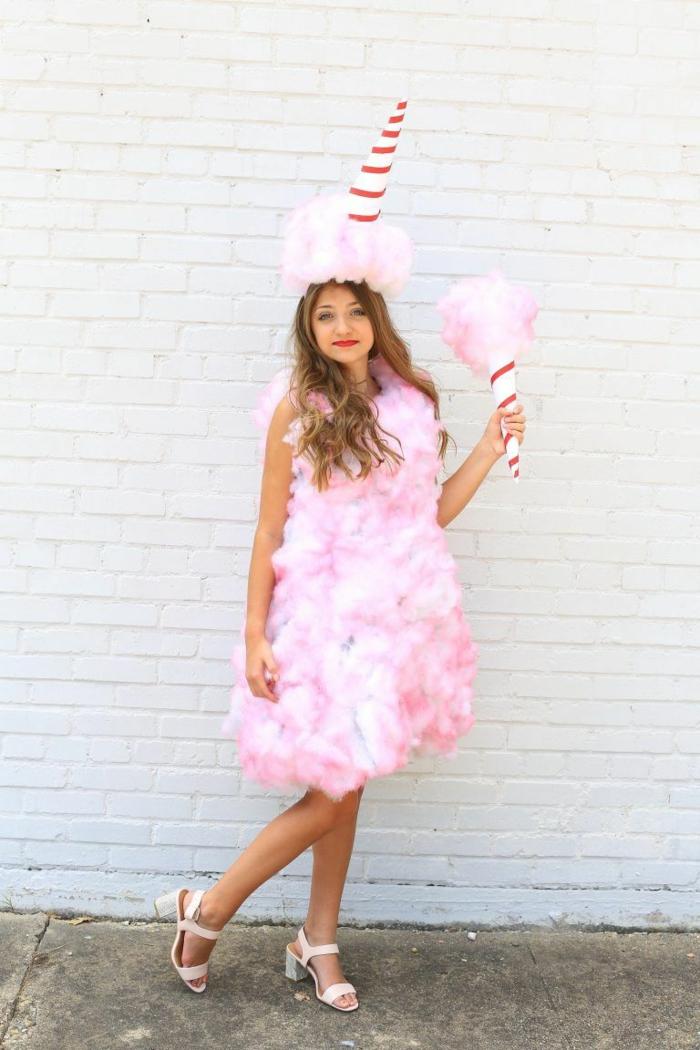 ideas de disfraces faciles de hacer para Halloween, disfrace algodón de azúcar, disfraces para impresionar en halloween