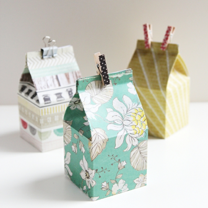 como hacer una caja de cartón personalizadas, cajas de leche reutilizadas decoradas con papel estampada