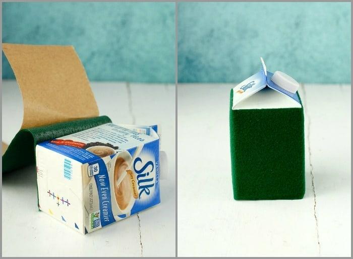 manualidades con cartón paso a paso, cajas de leche y nata reutilizadas decoradas con fieltro adhesivo