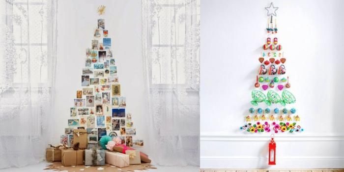 dos propuestas de arbol de navidad casero, árboles hechos con materiales reciclados, ideas super originales
