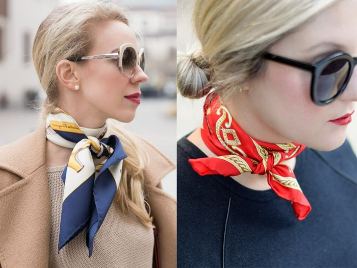 dos elegantes formas de ponerse un fular, pequeños pañuelos de seda para complementar tu look