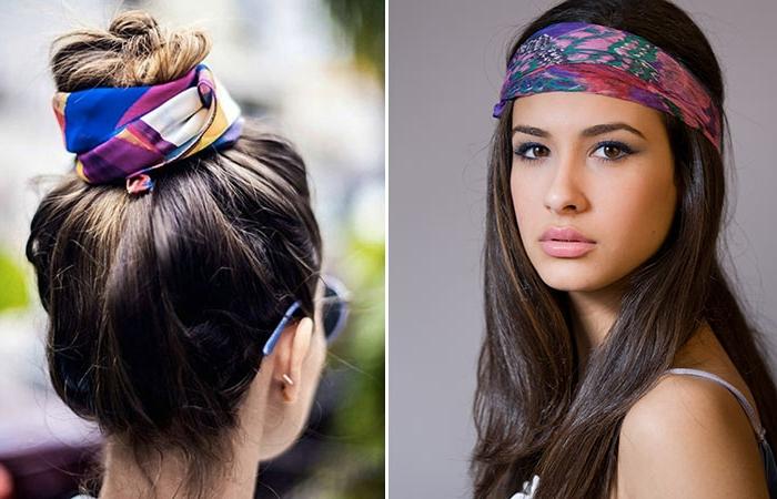 formas de ponerse pañuelos para la cabeza, dos ejemplos sobre como adornar tu cabeza con pañuelos de seda